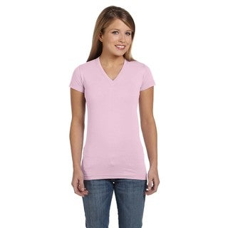 Juniors' Fine Pink Jersey V-neck Longer-length T-Shirt