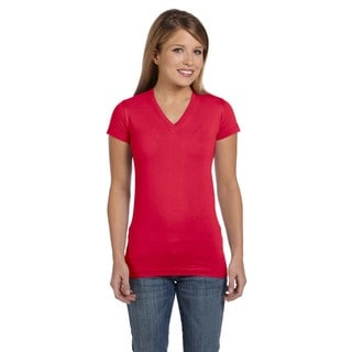 Juniors' Fine Red Cotton Jersey V-Neck Longer Length T-Shirt