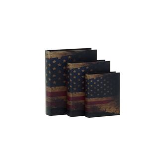 Blue/Red Wood and Leather Patriotic Book Boxes (Set of 3)