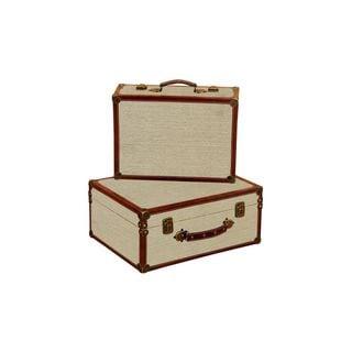 Wooden 17-inch x 15-inch Burlap Box (Set of 2)