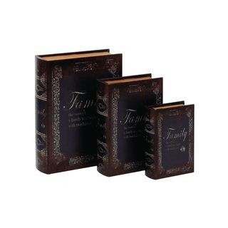 Gracewood Hollow Teters Wood and Leather Book Boxes (Set of 3)