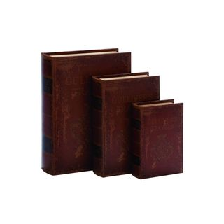 Set of 3 Red/Tan/Black MDF Wood and Leather Book Boxes