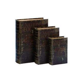 Wood Leather Book Box (Set of 3) 8/11/13 Inches High