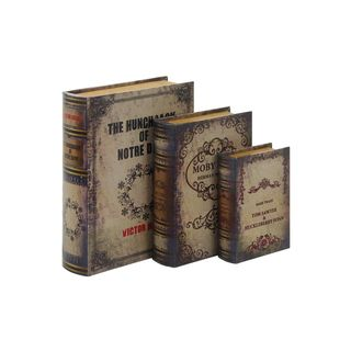 Wood/Leather 3-piece 13-, 11-, and 8-inch High Book Box Set