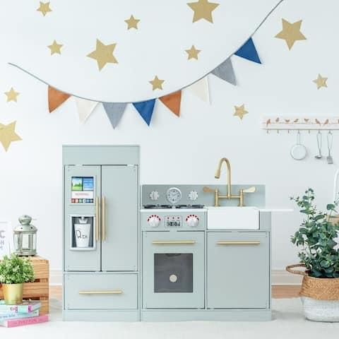 Teamson Kids - Little Chef Chelsea Modern Play Kitchen - Silver Grey / Gold