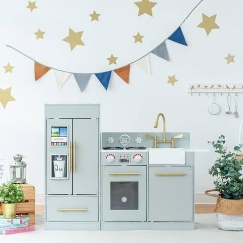 Teamson Kids - Chelsea Modern Wooden Kids Play Kitchen, Grey/ Gold