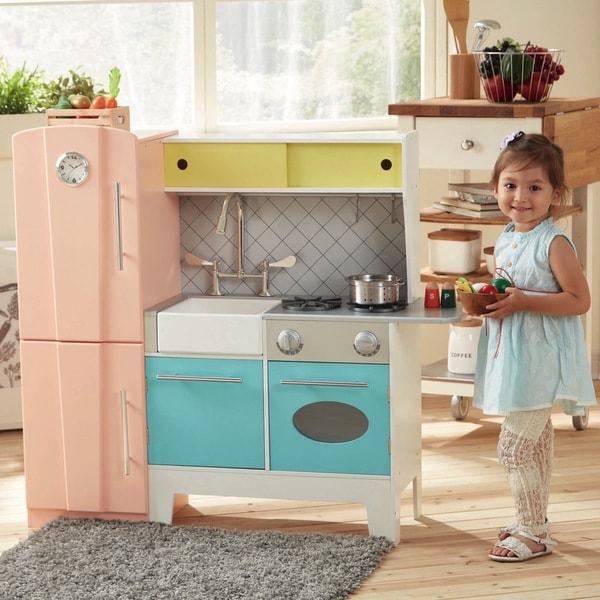 Teamson Kids Playful Bubble Gum Wooden Play Kitchen