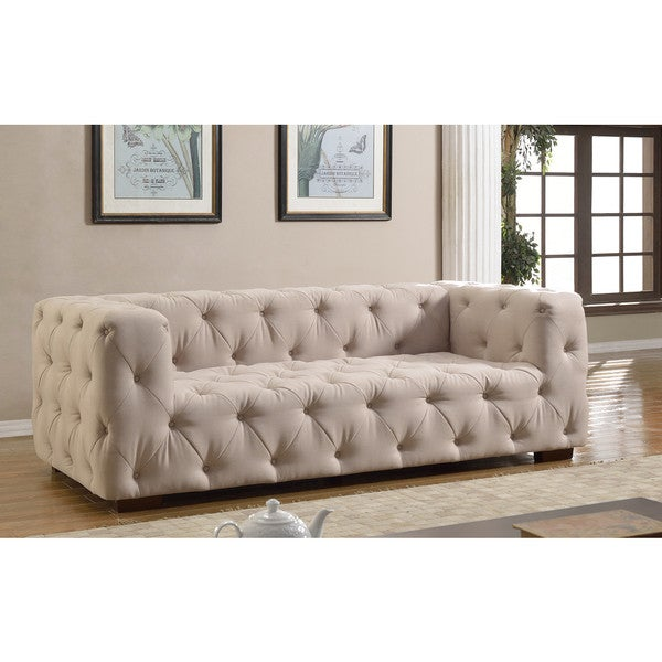 Luxurious Modern Large Tufted Linen Fabric Sofa Free