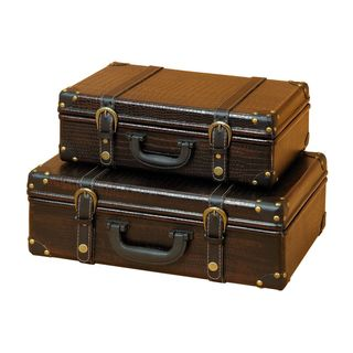Wood Leather Box (Set of 2) 14/17 Inches Wide