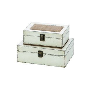 Grey Wooden Burlap Box (Set of 2)