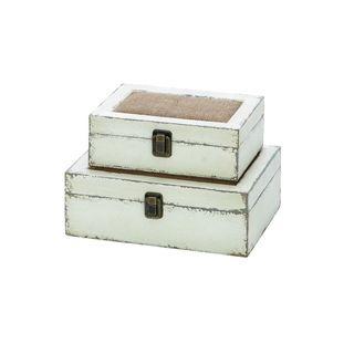 Grey Wooden Burlap Box (Set of 2)