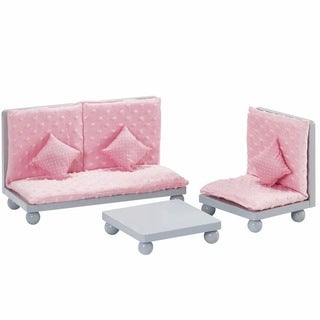 Olivia's Little World Soft Pink Lounge Set 18-inch Doll Furniture with Grey Polka Dots
