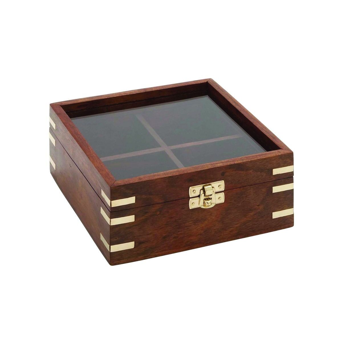 Brown and Gold Wood Decorative Box