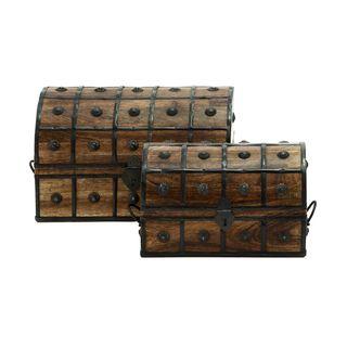 Gracewood Hollow Nakuina Wood, Metal 14-inch, 11-inchW Box, (Set of 2)