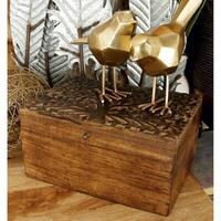 Wood 12-inch, 10-inch, 8-inchW Carved Box, (Set of 2)