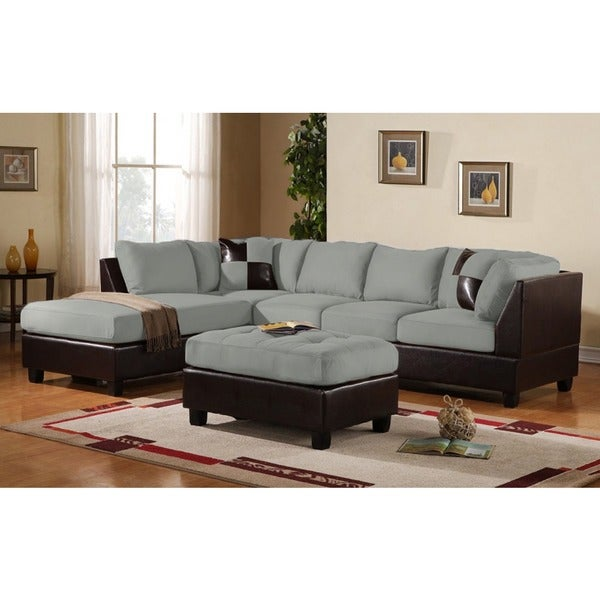 Soft Leather Sectional Sofa: 3 Piece Modern Soft Reversible Grey Microfiber And Faux