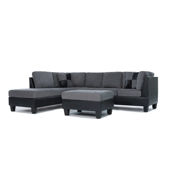 Soft Leather Sectional Sofa: Shop 3 Piece Modern Soft Reversible Grey Microfiber And