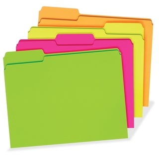 TOPS File Folder, 3 Tab Positions, Letter, Glow Assorted, 24/pk - Assorted (24/Pack)