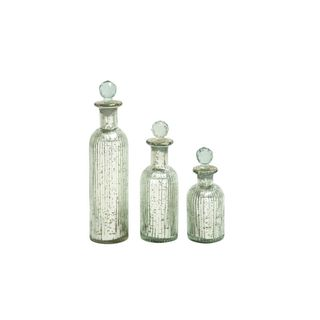 Decoractive Silver Glass Bottles with Stoppers (Set of 3)