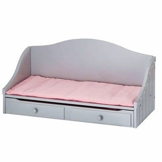 Olivia's Little World Trundle Bed 18-inch Doll Furniture with Grey Polka Dots