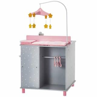 Olivia's Little World Baby Doll Furniture Baby Changing Station with Storage in Grey Polka Dots|https://ak1.ostkcdn.com/images/products/12179286/P19029696.jpg?impolicy=medium