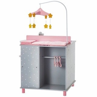 Olivia's Little World Baby Doll Furniture Baby Changing Station with Storage in Grey Polka Dots