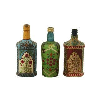 decorated glass bottles. Painted Glass Bottles  Set of 3 Decorative Home Decor For Less Overstock com