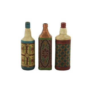 Multicolored Glass Painted Bottles (Set of 3)