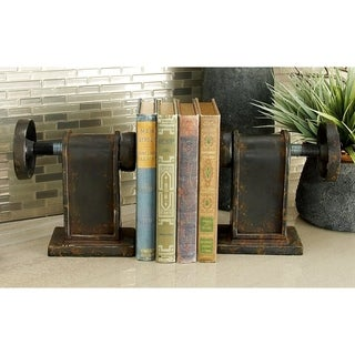 Black/Brown Metal Iron Vice 8-inch and 7-inch Bookends (Set of 2)