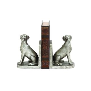 Silver Resin Dog-themed Bookends