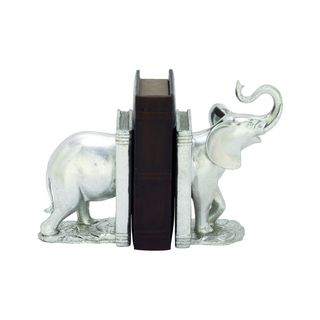 Polystone Silver Elephant Bookends