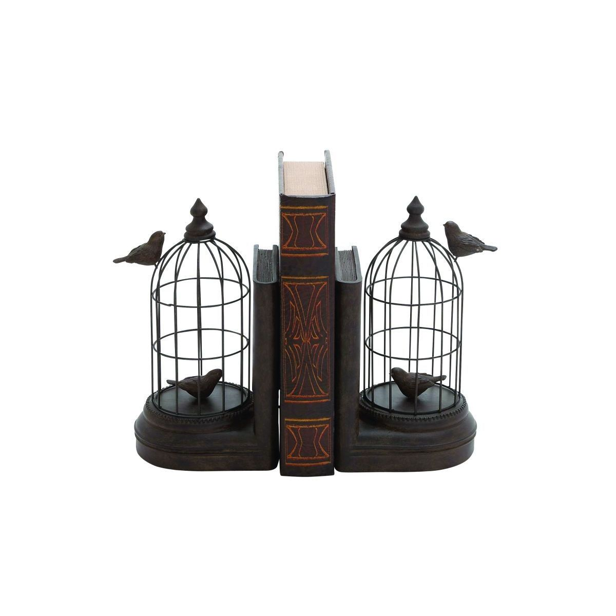 Black Iron/Stone/Resin 10-inch High x 6-inch Wide Birdcage Bookend Pair