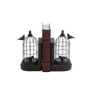 Copper Grove Kitty Black Iron/Stone/Resin 10-inch high x 6-inch wide Birdcage Bookend Pair