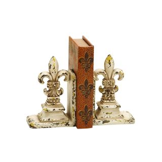Copper Grove Chatfield Polystone Felur-de-lis Weathered White Finish Bookends (Set of 2)