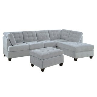 3 PC Modern Large Tufted Grey Microfiber Sectional Sofa with Ottoman