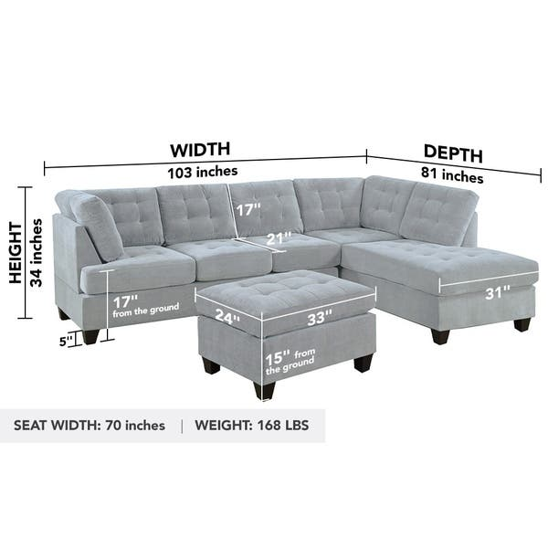 3 Pc Modern Large Tufted Grey