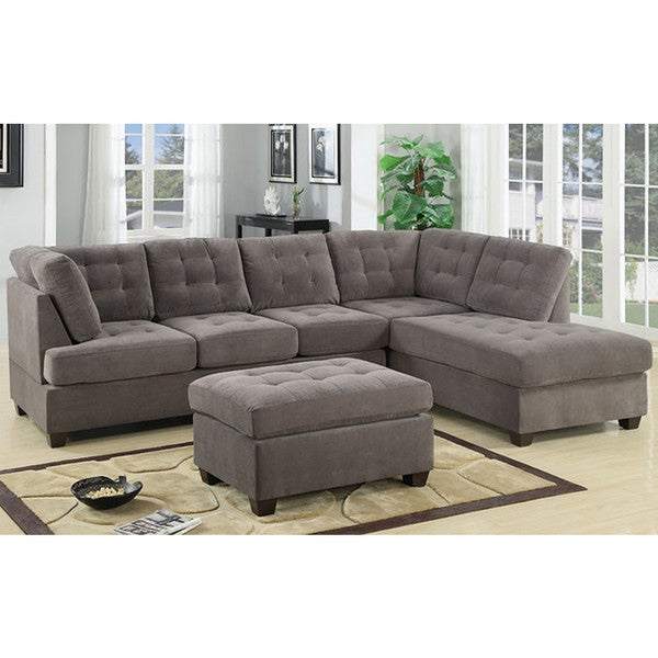 Shop 3 Piece Modern Large Tufted Grey Microfiber Sectional ...
