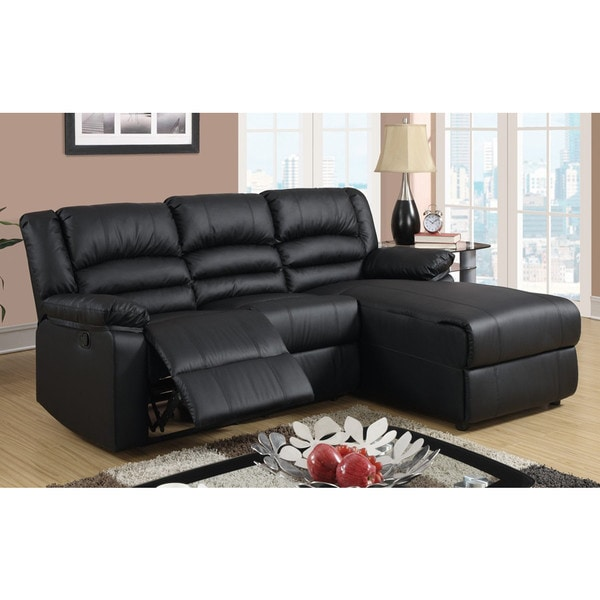 Modern Bonded Leather Small E Sectional Reclining Sofa With Chaise
