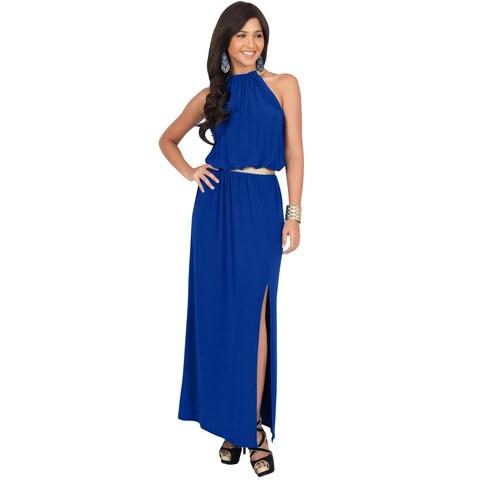 KOH KOH Women's Sleeveless Halter Slimming Maxi Dress