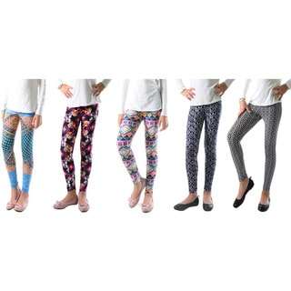 Pack of 5: Geometric Printed Leggings