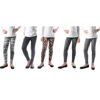 Pack of 5: Girl's Trendy Mix Printed Legging