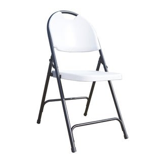 Ares White Folding Chairs with Carrying Handle (Set of 4)