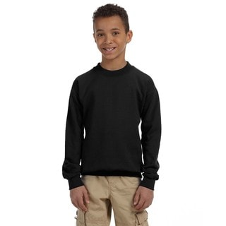 Gildan Boys' Black Heavy Cotton-blend Crewneck Sweatshirt