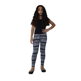 Dinamit Girls' Nylon/Spandex Aztec Pattern Printed Leggings