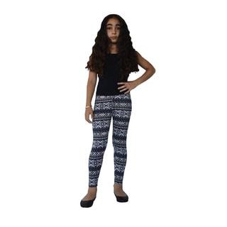 Dinamit Girls' Nylon/Spandex Aztec Pattern Printed Leggings