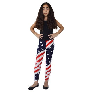 Girls' Nylon/Spandex Diagonal American Flag Printed Leggings