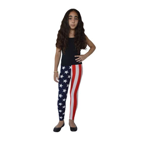 Girl's American Flag Printed Leggings