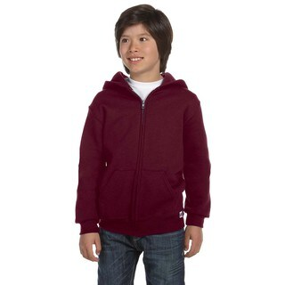 Dri-Power Boys' Maroon Fleece Full-zip Hoodie