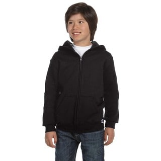 Dri-Power Boys' Black Cotton-blend Fleece Full-zip Hoodie