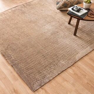Hand-woven Grandeur Mocha Viscose Rug (5'6 x 8'6)